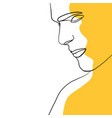 continuous one line drawing man face portrait vector image vector image