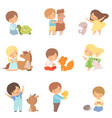 cute little children playing with playing hugging vector image vector image