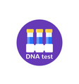 dna test icon with lab tubes vector image