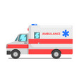 emergency car red and white ambulance medical vector image vector image