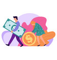 family saving money man and woman with banknotes vector image