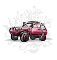 Female pink jeep sketch for your design vector image