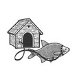 fish guard on leash near booth sketch vector image vector image