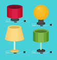 flat table lamp icon set vector image