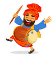 funny dancing sikh man with drum vector image vector image