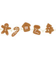gingerbread cookies christmas border one vector image