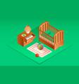 green room baby crib banner isometric style vector image