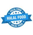 halal food ribbon halal food round blue sign vector image vector image