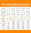 halloween pumpkin simple line icons set vector image vector image