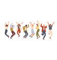 happy jumping office workers flat vector image vector image