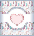 heart with cute unicorn trendy character vector image