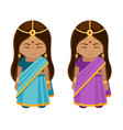 indian girls in sari vector image