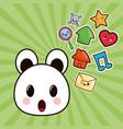 kawaii bear character social media image vector image vector image