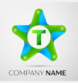 letter t logo symbol in the colorful star on grey vector image