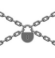 lock and metal chain vector image vector image