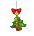 merry christmas tree hanging bow ball and star vector image vector image