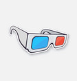 paper 3d glasses isometric view stereo retro vector image vector image