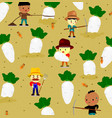 pattern with cute radish on field and vector image