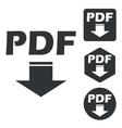 PDF download icon set monochrome vector image vector image