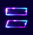 rectangle neon signs set on dark blue background vector image vector image