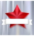 Red shining five-pointed star on metallic vector image vector image