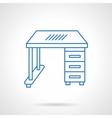 School desk blue flat line icon vector image vector image