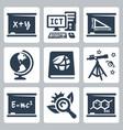 school subjects icons set algebra ict geometry vector image vector image