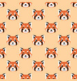 seamless cute red panda face pattern vector image