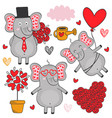 set of isolated elephant in love part 3 vector image vector image