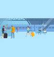 travellers at railway station vector image