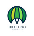 tree logo template green abstract organic design vector image vector image
