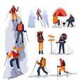 trekking or hiking in winter mountain climbers vector image