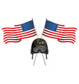 united state flag with military helmet vector image vector image