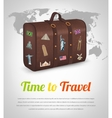 Vintage suitcase with collection of travel labels vector image vector image