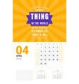Wall calendar template for april 2019 design