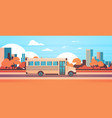 yellow bus back to school pupils transport concept vector image vector image