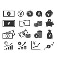 yen coins and banknotes icons japanese money vector image vector image
