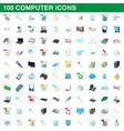 100 computer set cartoon style vector image
