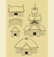 some vikings buildings vector image