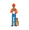 delivery service worker delivering boxes and vector image