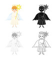 angel with a star single icon in cartoonblack vector image