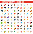 100 performance icons set vector image vector image