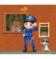 a policeman in front a jail with two cats vector image
