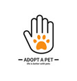 adopt a pet hand with paw line icon volunteer vector image