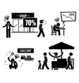 bad poor business day stick figure pictogram vector image vector image