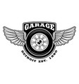 badge of motorcycle with wings vector image