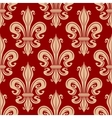 Beige and red fleur-de-lis seamless pattern vector image vector image