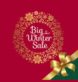 big winter sale with ribbon vector image vector image