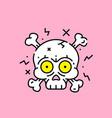 cartoon skull crossbones icon vector image