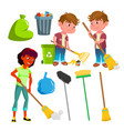character people sweep and equipment set vector image